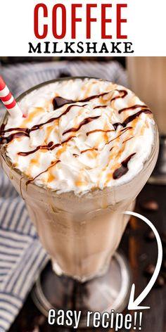 Ice Cream Milkshake Recipe, Ice Cream Drinks, Coffee Milkshake, Coffee Ice Cream, Milkshake Recipes, Milkshakes, Best Dessert Recipes, Sweets Recipes, Coffee Recipes
