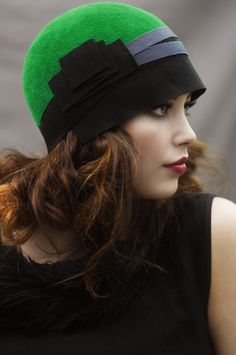 fed3a43157b Green Cloche Hat with Ribbon by Maggie Mowbray Hats