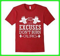 Mens EXCUSES DO NOT BURN CALORIES T SHIRT FUNNY GYM SHIRT XL Cranberry - Workout shirts (*Amazon Partner-Link)