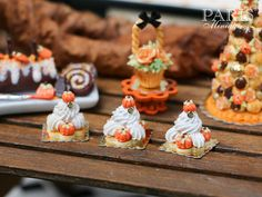 Pumpkin St Honoré for Autumn/Fall - 12th Scale French Miniature Food by ParisMiniatures on Etsy https://www.etsy.com/listing/207479344/pumpkin-st-honore-for-autumnfall-12th