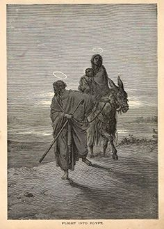 Gustave Dore's Illustration - FLIGHT INTO EGYPT - Woodcut - c1880