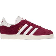 Adidas Originals Gazelle suede and leather sneakers (3.100 RUB) ❤ liked on Polyvore featuring shoes, sneakers, adidas, delete, burgundy, suede sneakers, lace up shoes, adidas originals sneakers, leather shoes and burgundy sneakers