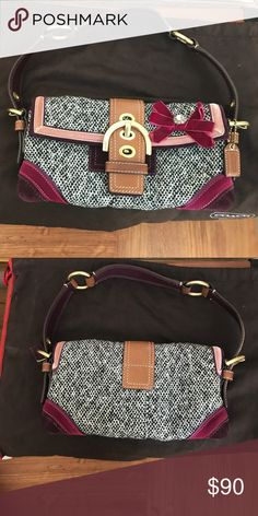 f4e2b02b76204 Coach Tweed purse with velvet embellished bow Coach tweed purse with velvet  embellished bow. Never