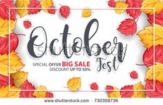 October Fest Background with Hand Drawn October Text and Leaves around it. For Holiday sale Promo, Invitation card and Greeting card