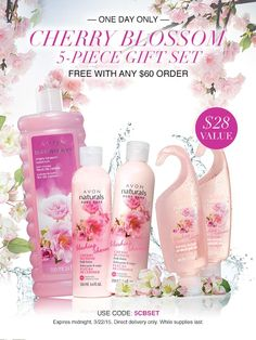 One Day Only! On March 22 get a free Cherry Blossom Gift Set with any purchase of $60 or more with Code: 5CBSET at my Avon eStore! #AvonRep