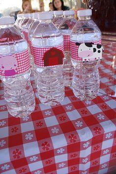 Farm birthday party water bottles