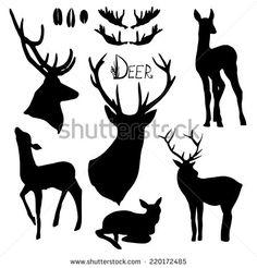 Deer silhouettes set. Hand drawn isolated vintage illustration