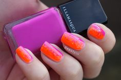 DIY Nail Art | Fuchsia Orange Swirl ~ Beautyill | Beautyblog met nail art, nagellak, make-up reviews en meer!