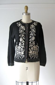 vintage 1950s cardigan sweater / 50s black wool by Dronning