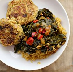 Black-Eyed Pea Cakes with Collard Greens - How Southern can you get?!