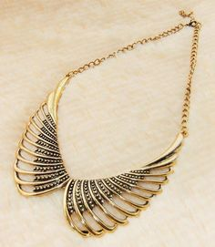 elegant angle wings style zinc alloy woman brooch golden