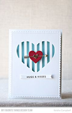 Stamps: From the Heart  Die-namics: Peek-a-Boo Striped Heart, Hearts in a Row - Vertical, Blueprints 27, Tag Builder Blueprints 5    Keisha Campbell  #mftstamps