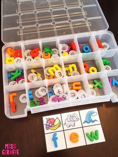 Smart! Store alphabet letters in tackle box from the hardware store by letter. Great word work ideas on this post!