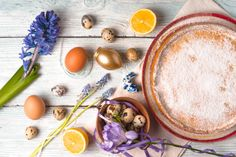 german easter cake with decoration and flower horizontal