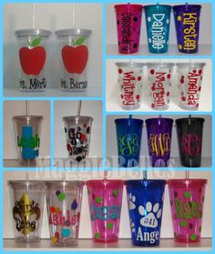 Personalized Acrylic tumbler CUP with lid and straw polka dots teacher sports gift double wall insul Clear Tumblers, Vinyl Tumblers, Plastic Tumblers, Acrylic Tumblers, Personalized Tumblers, Plastic Cup With Straw, Diy Vinyl Projects, Circuit Projects, Palette Organizer