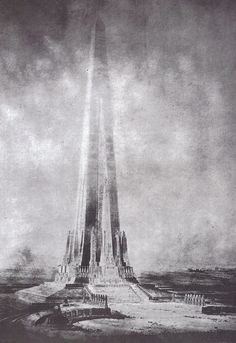 skyscraper: decoarchitecture: Projected Beacon of Progress Tower, Chicago, IllinoisDrawing from around 1900 via archimaps From Wikipedia: Constant-Désiré Despradelle designed the Beacon to represent the founding of America, and so it consisted of thirteen obelisks which he said represented the original thirteen colonies. The group of obelisks merged to form a single spire soaring 1,500 feet (approximately 457 metres) above Chicago.
