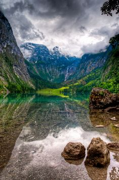 Königssee, Berchtesgaden National Park, Bavaria, Germany. The mountains echo back to the lake, which can reverberate up to seven times. Amazing!