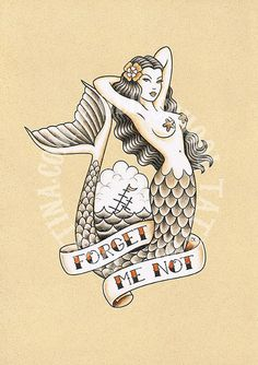 old school mermaid t Pin Up Tattoos, Body Art Tattoos, Tattoo Drawings, Nature Tattoos, Cool Tattoos, Tatoos, Mermaid Tattoo Designs, Mermaid Drawings, Mermaid Art