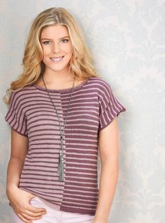 With minimal shaping and a simple pattern repeat, Anniken Allis' stripy top is a great garment for beginners looking to give colourwork a go. In an extrafine merino yarn, the multi-tonal effect looks far more expensive than it will be Knitting Patterns Free, Free Knitting, Knit Patterns, Crochet Tank Tops, Crochet Shirt, Crochet Top, Crochet Vests, Top Pattern, Simple Pattern