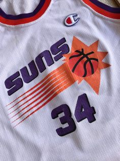 2d526472aab9 Vintage Charles Barkley White Home Jersey Phoenix Suns 34