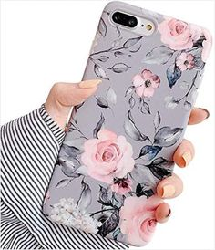 YeLoveHaw iPhone 8 Case, iPhone 7 Case for Girls, Flexible Soft Slim Fit Full-Around Protective Cute Phone Case Cover with Purple Floral and Gray Leaves Pattern for / (Pink Flowers) Cute Cases, Cute Phone Cases, Iphone 8 Cases, Iphone Bumper Case, Cute Love Heart, Top Casual, Pink And Purple Flowers, Unique Flowers, Floral