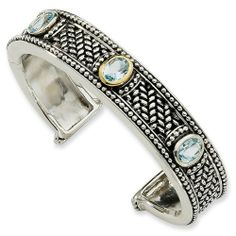 Sterling Silver with 14k Yellow Gold 4.80 Sky Blue Topaz Cuff Bracelet Jewelry Pot. $423.99. Your item will be shipped the same or next weekday!. 30 Day Money Back Guarantee. 100% Satisfaction Guarantee. Questions? Call 866-923-4446. Fabulous Promotions and Discounts!. All Genuine Diamonds, Gemstones, Materials, and Precious Metals