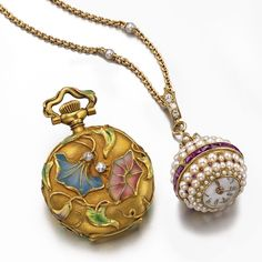 Waltham and Swiss - Two Lady's Watches:  18K Gold Plique A Jour Open-Faced Pendant Watch and a Pearl and Ruby Set Ball-Form, Circa 1910   Sotheby's