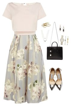 """""""Nicole"""" by bylee99 on Polyvore featuring Coast, Jimmy Choo, Yves Saint Laurent, Michael Kors, FOSSIL, Kendra Scott, women's clothing, women's fashion, women and female"""