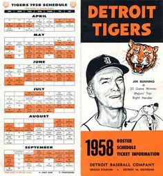 Detroit Tigers 1958 Roster / Schedule Baseball Program