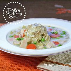 Turkey Stuffing Soup - Thanksgiving in a Bowl, made with leftover stuffing, turkey, gravy and vegetables. - Recipes, Food and Cooking