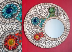 espejos en mosaiquismo - Buscar con Google                                                                                                                                                     Más Mirror Mosaic, Mosaic Art, Mosaic Madness, Mosaic Projects, Stone Mosaic, Bar, Wood Signs, Glass Art, Decorative Plates