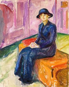 Edvard Munch (Norwegian, 1863-1944), Seated on a Suitcase oil on canvas 151 x 120 cm