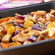 Rutabaga, parsnips, onion, garlic, celery root, carrots and potatoes roast to sweet tenderness in savory Swanson(R) Vegetable Broth and aromatic herbs.