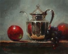 Silver With Apples by Kathy Tate Oil ~ 11 x 14