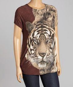 Another great find on #zulily! Brown & Beige Tiger Ruched Top - Plus #zulilyfinds