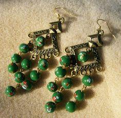 Vintage Bead Earrings  Grass Green Chandelier by JewelryArtistry
