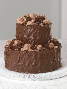 """Publix cake -- exact size and texture that I want.... Just take away the roses and make the icing ivory... and I've found a winner!  Called """"Macho Chocolate"""""""