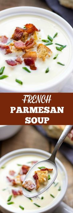 Are you looking for gourmet comfort food recipes? Prepare to fall madly in love with an incredible flavor and taste of French Parmesan Soup with Crispy Bacon And Garlicky Croutons. Try it once and you'll be hooked. Make it without croutons and you have a comfort food low-carb and keto soup recipe. #easysouprecipes #lowcarbrecipe #souprecipes