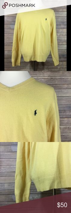 "Polo Ralph Lauren Men's V Neck Pullover Sweater 82 Polo Ralph Lauren Men's Long Sleeve V Neck Pullover Sweater. New With Tags. Size XL. 100% Lambs Wool.   Length - 27"" Shoulders - 18.5"" Chest - 48"" Waist - 47"" Hips - 44"" Sleeve Length - 26"" Polo by Ralph Lauren Sweaters V-Neck"