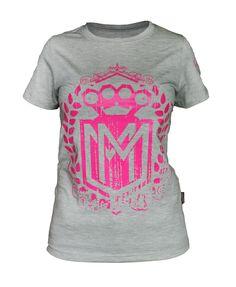 Damska koszulka 'Logo' szara - przód ---> Streetwear shop: odzież uliczna, kibicowska i patriotyczna / Przepnij Pina!