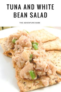 Want a yummy easy to make snack? Try this tuna and white bean salad! It's great as a sandwich and on crackers! Paleo Vegetables, Vegetable Recipes, Healthy Appetizers, Appetizer Recipes, Healthy Snacks, Healthy Recipes, Egg Free Recipes, Tuna Recipes