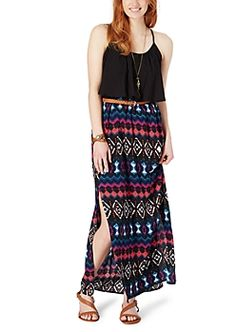 image of Abstract Belted Maxi Dress Rue 21 Dresses, Girls Dresses, Summer Dresses, Dress Outfits, Cool Outfits, Fashion Dresses, Dress Clothes, Tribal Maxi, Plus Size Outfits