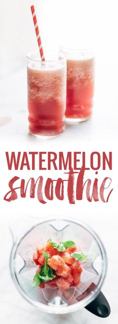 All you need is 4 simple ingredients to make THE BEST summer watermelon smoothie ever! So easy, naturally sweet, and refreshing! | pinchofyum.com