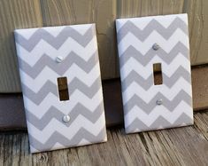 Gray Chevron Light Switch - Outlet Cover- Switch Plate Cover-Nursery Decor- Light switch cover-