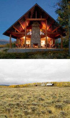 small-cabin-colorado-- this would be great- outdoor living space with a couple of indoor sleeping quaters. Small Cabin Designs, Modern Lake House, Modern Cabins, Colorado Cabins, Timber Frame Homes, Metal Homes, A Frame Cabin, Little Cabin, Cabin Homes