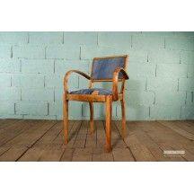Chaise bridge en bois et tissu jean avec accoudoirs vintage #chaise #bridge #bois #jean #accoudoir #vintage #originale
