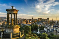 In the foreground of this picture stands the Dugald Stewart Monument on Calton, overlooking the city's unique of the Historic and Contemporary.