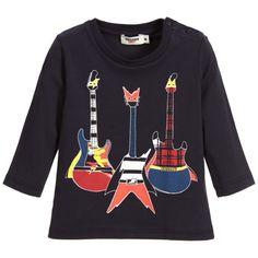 Junior Gaultier - Baby Boys Blue Cotton Guitar Top | Childrensalon