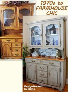 Craig's List Find Hutch Makeover  #Farmhouse #Furniture
