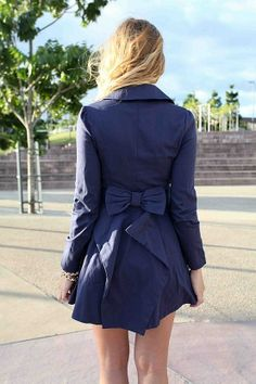 this blue bow coat is amazing
